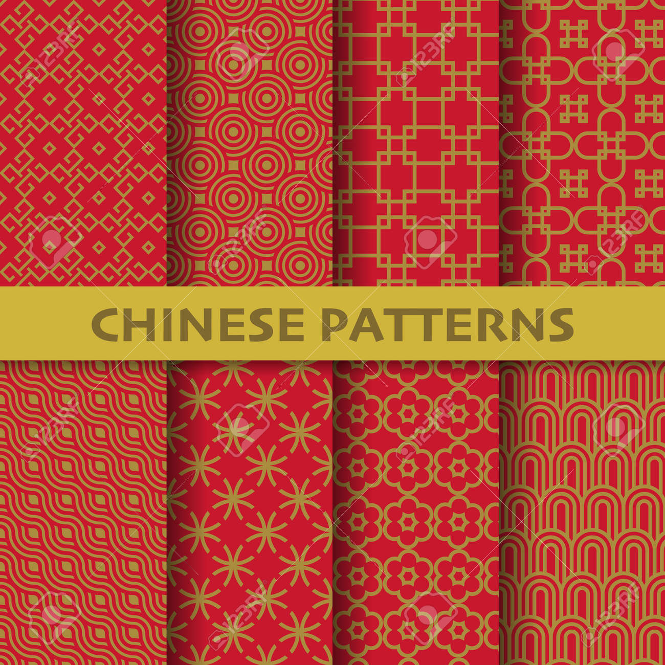 different chinese, Japanese and asian culture vector seamless patterns. Endless texture can be used for wallpaper, pattern fills, web page background, surface textures. vector graphic illustration - 156788030