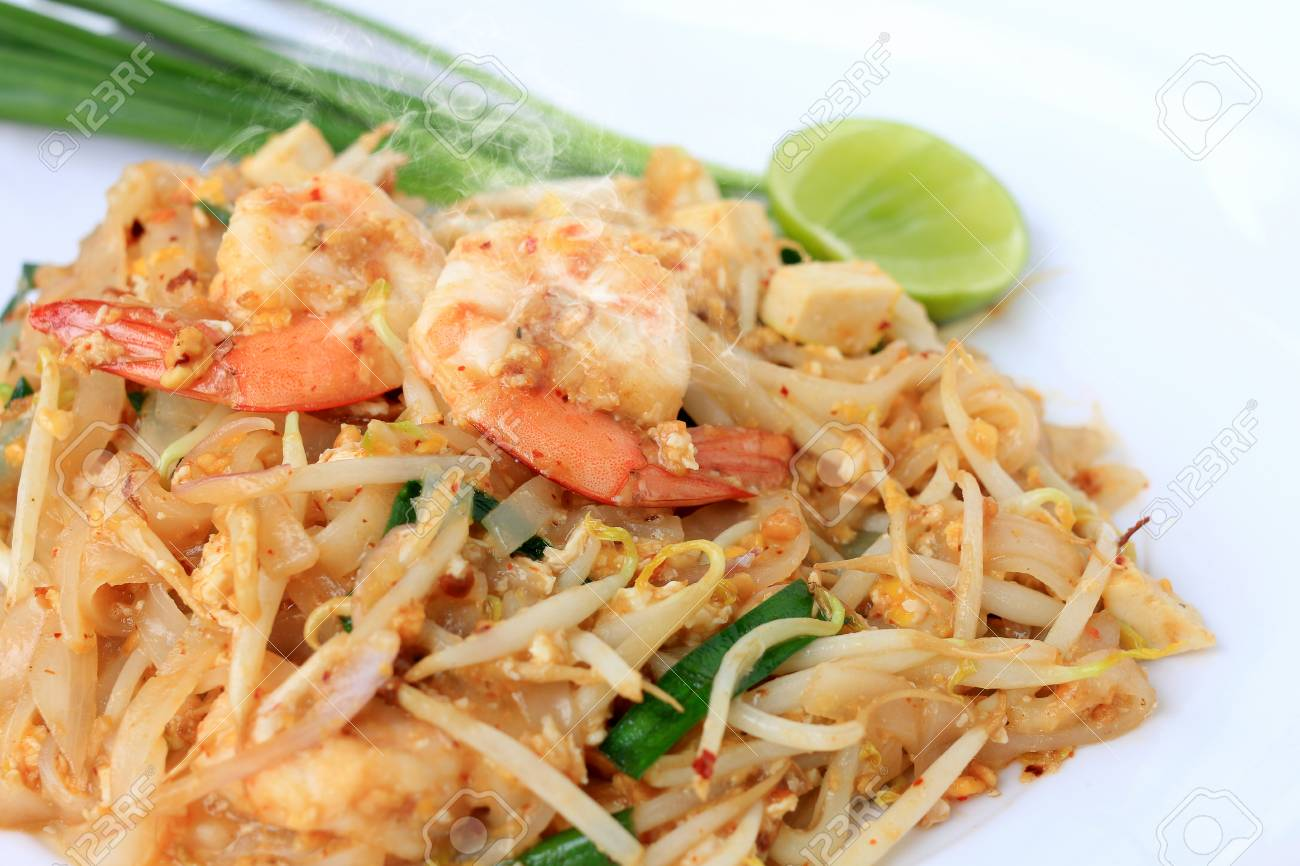 Thai Style Noodles Pad Thai Stir Fried Rice Noodles With Shrimp Stock Photo Picture And Royalty Free Image Image 104276266