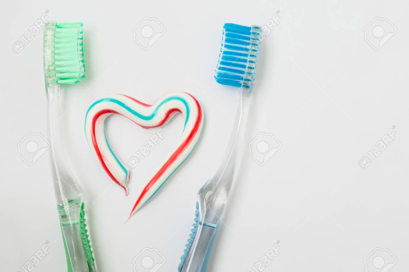 The Heart Symbol Is Made From A Three Color Toothpaste And Is