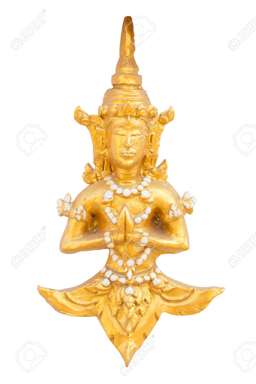 High Relief Golden Sculpture Art Tradition Thailand Style Isolated ...
