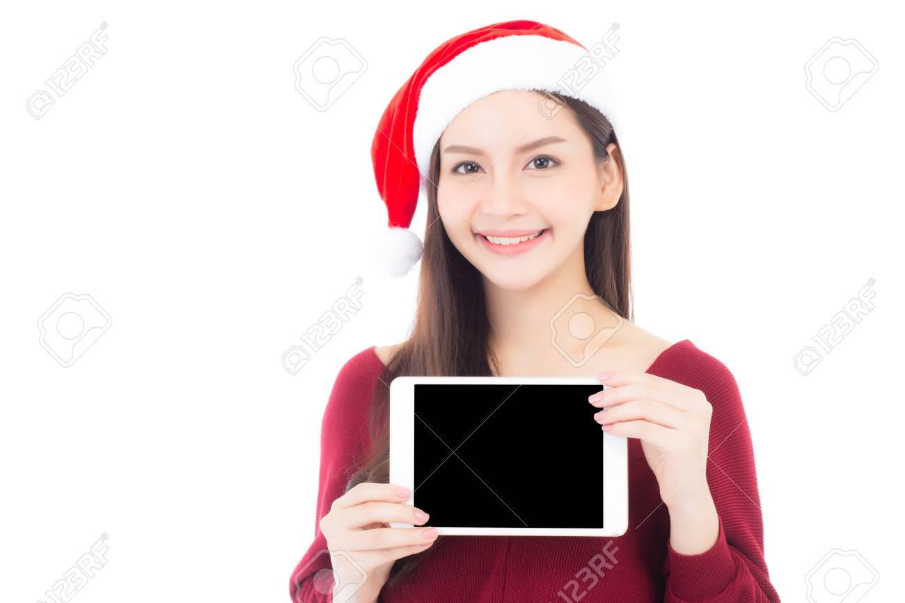 Femme Nu Joyeux Noel asiatique jeune femme porter bonnet de noel avec espace vide de