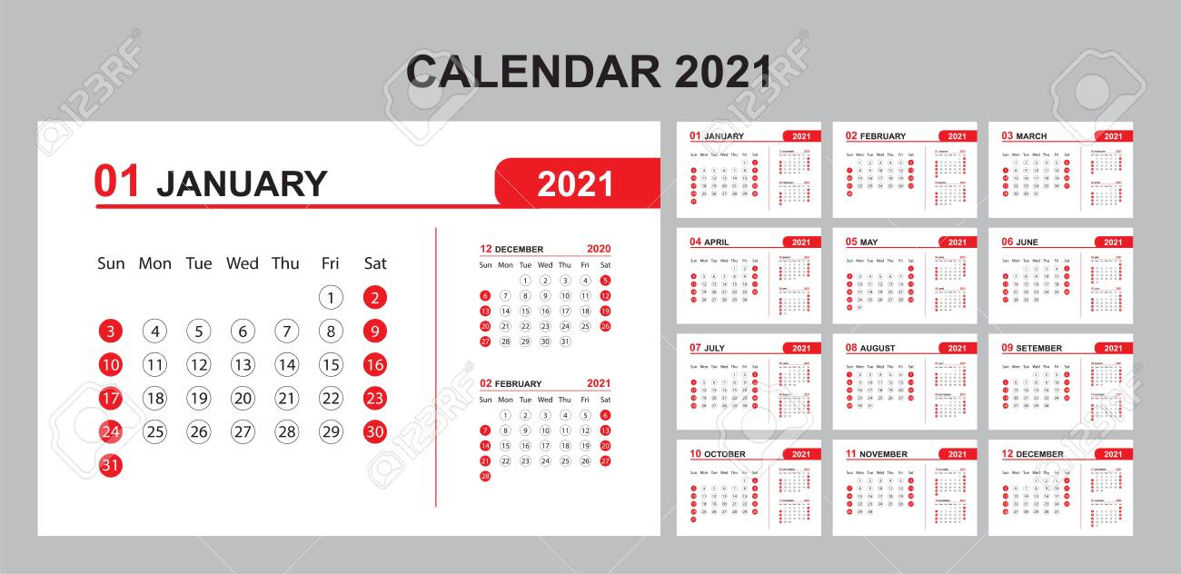 Calendar Annual Vector Template Year 2021 For Office, Layout