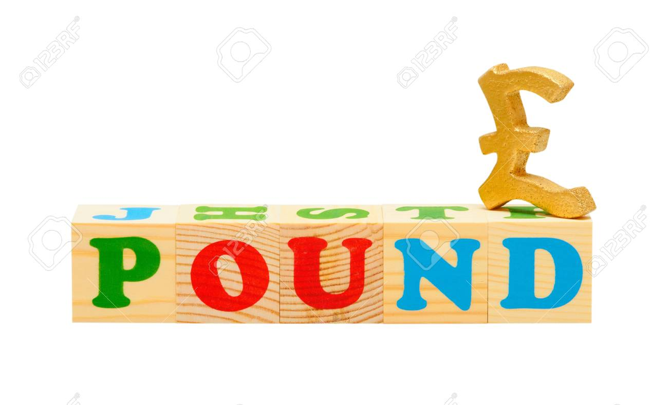 alphabet wood blocks forming the word pound isolated on a white background Stock Photo - 9735696