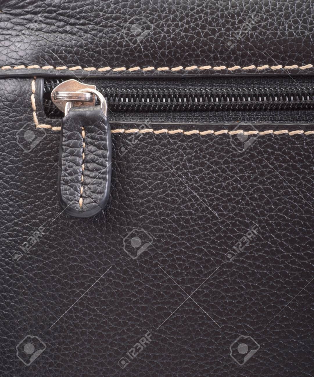 Dark brown leather texture and zipper background Stock Photo - 20498820