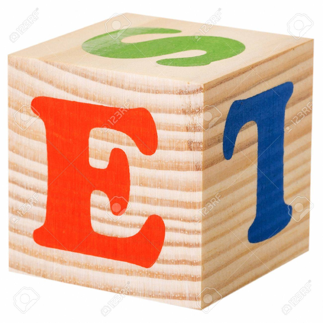 The Letter E Wooden Blocks With Letters Of The English Alphabet
