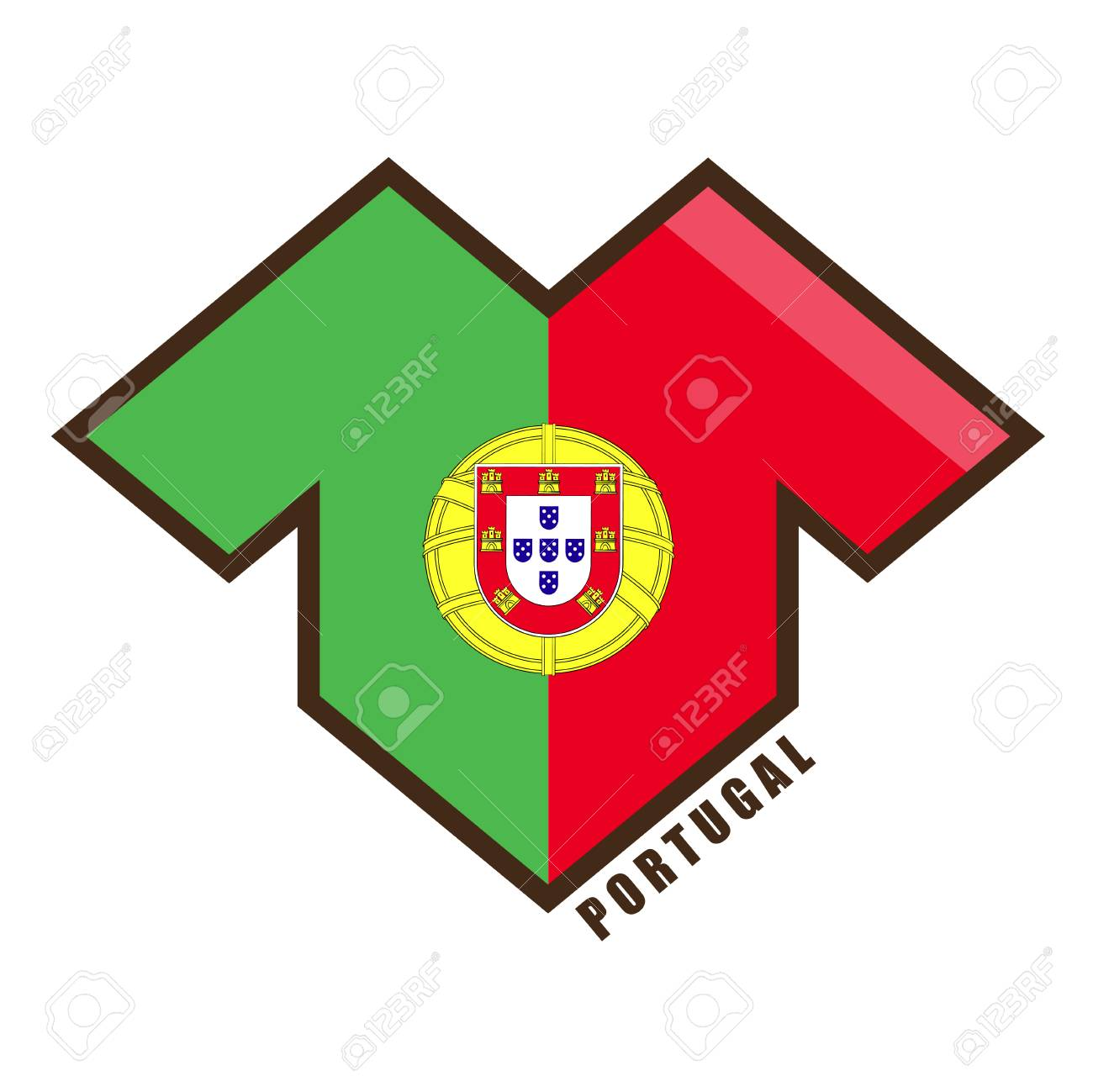 Vector Illustration Football Tournament 2018 Flag Of Portugal