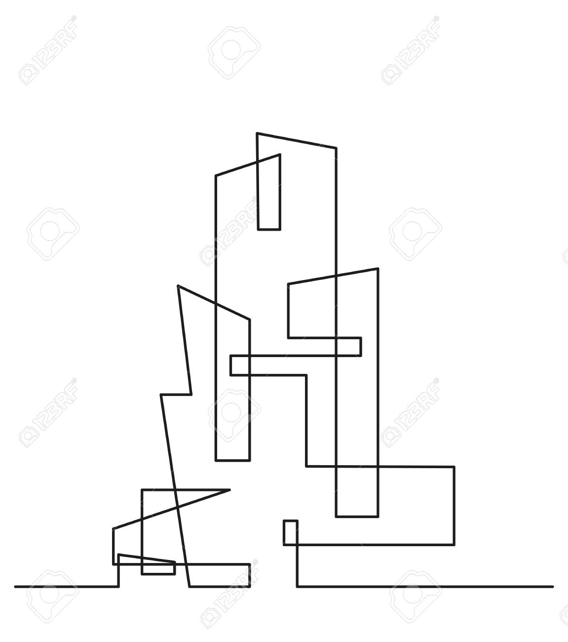 modern architecture drawing. Wonderful Architecture Archivio Fotografico  Continuous Line Drawing Modern Building  Construction Silhouette Of The City In A Flat Style Vector Illustration In Architecture Drawing