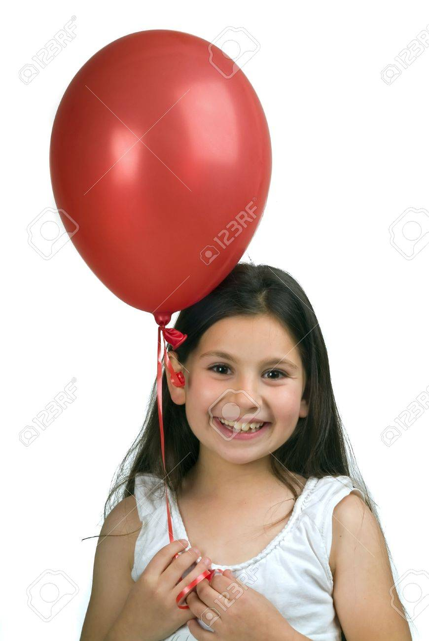 girl holding a red  balloon isolated on white Stock Photo - 2759315