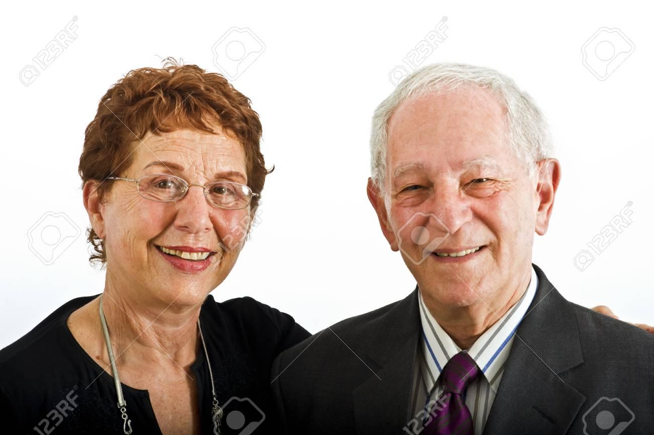 closeup senior couple smiling isolated on white Stock Photo - 3527763
