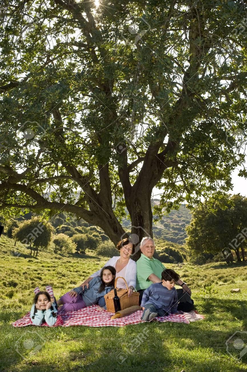 grandparents and  grandchildren having a picnic together Stock Photo - 6799711