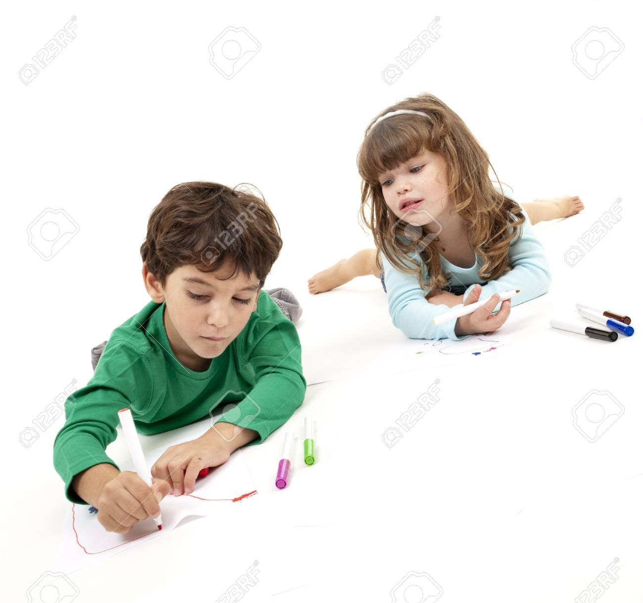 boy and girl painting isolated on white Stock Photo - 7955556