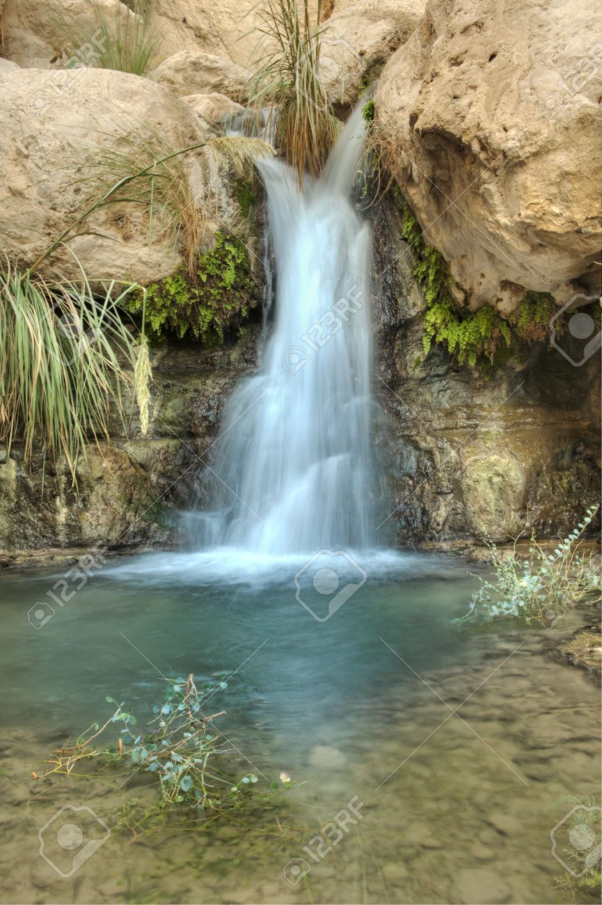 Small Waterfall in the desert in Nahal David near Ein Gedi, Israel Stock Photo - 8357497