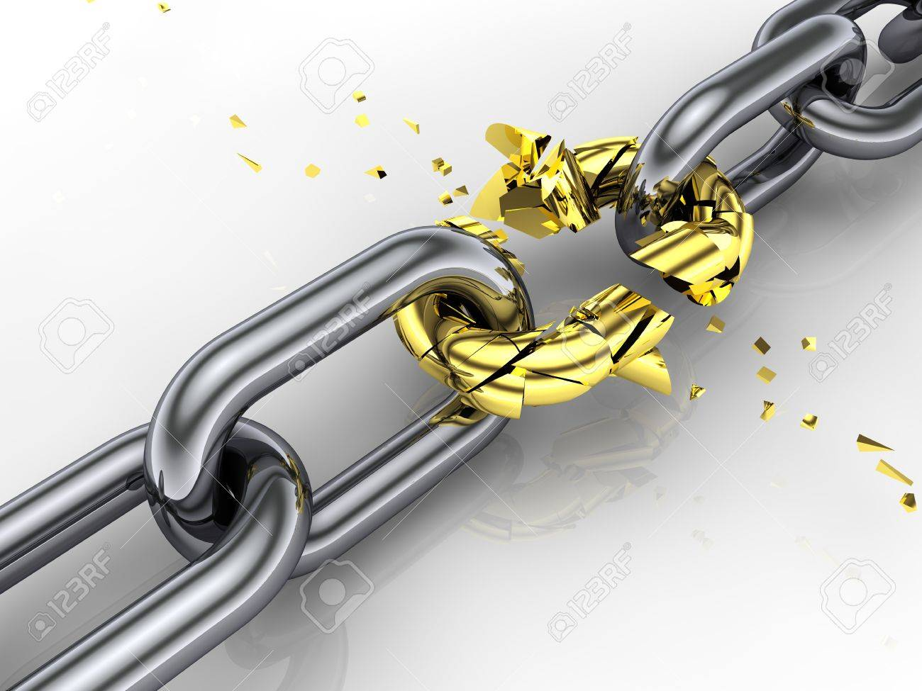 3d chain , shattered link , weakest link ,breaking free Stock Photo - 8955168