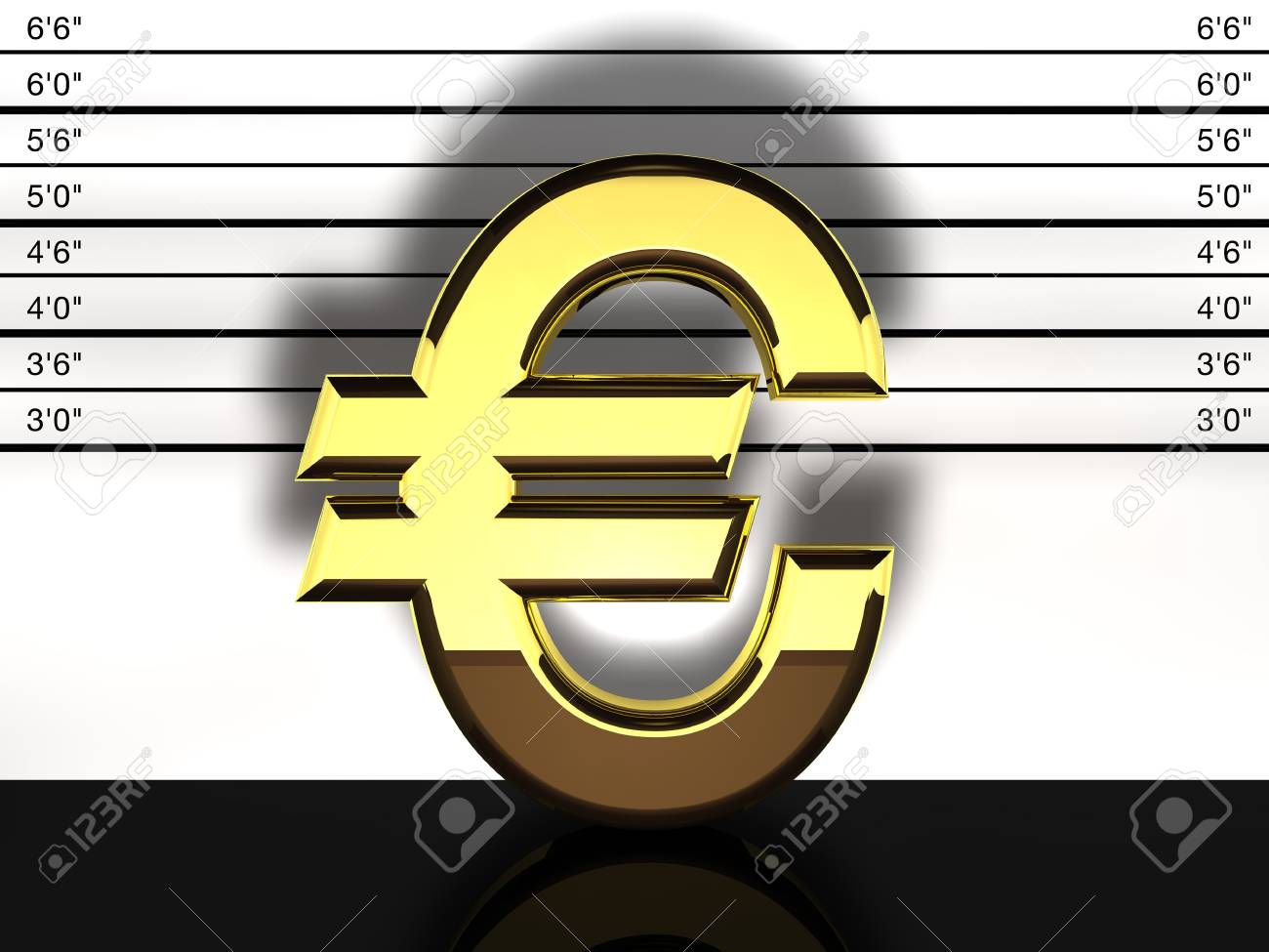 Euro sign mug shot, financial fraud and speculation Stock Photo - 9181642