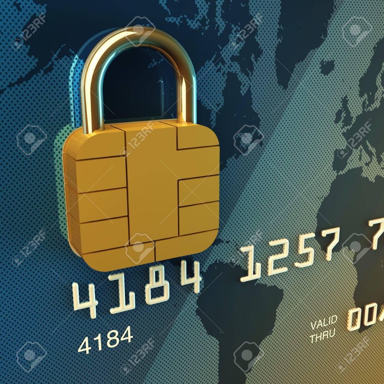 Credit card chip as padlock , 3d illustration Stock Illustration - 9349877
