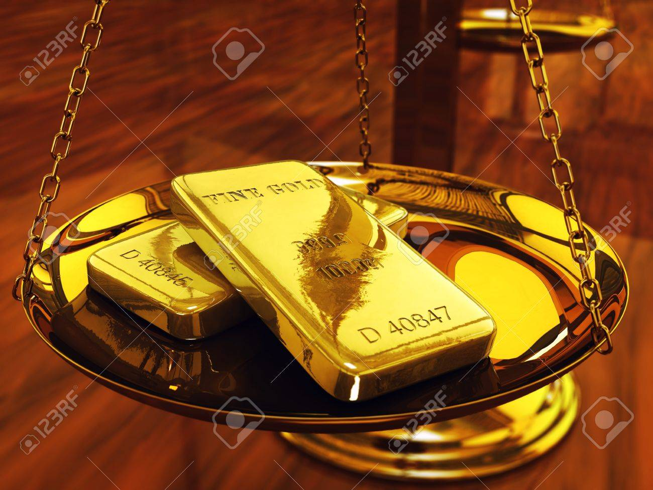 Gold ingots on brass scale ,3d illustration Stock Photo - 9584038