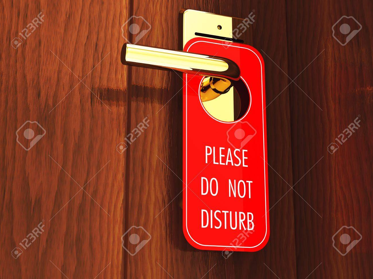 Do not disturb sign hanging on a hotel door handle, 3d illustration Stock Photo - 9696576