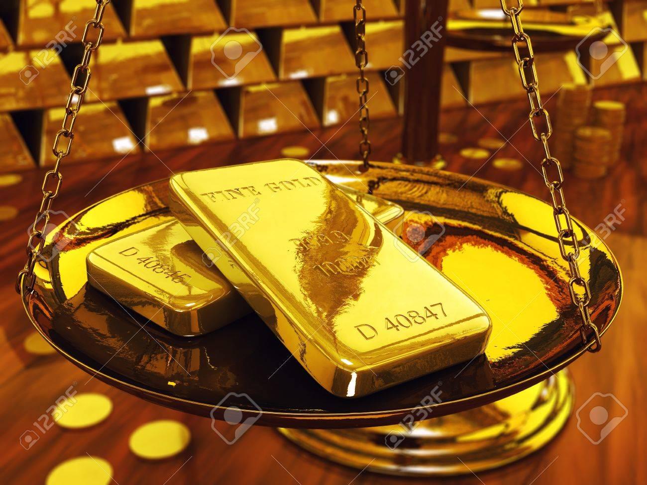 Gold ingots on brass scale ,3d illustration Stock Photo - 9831595