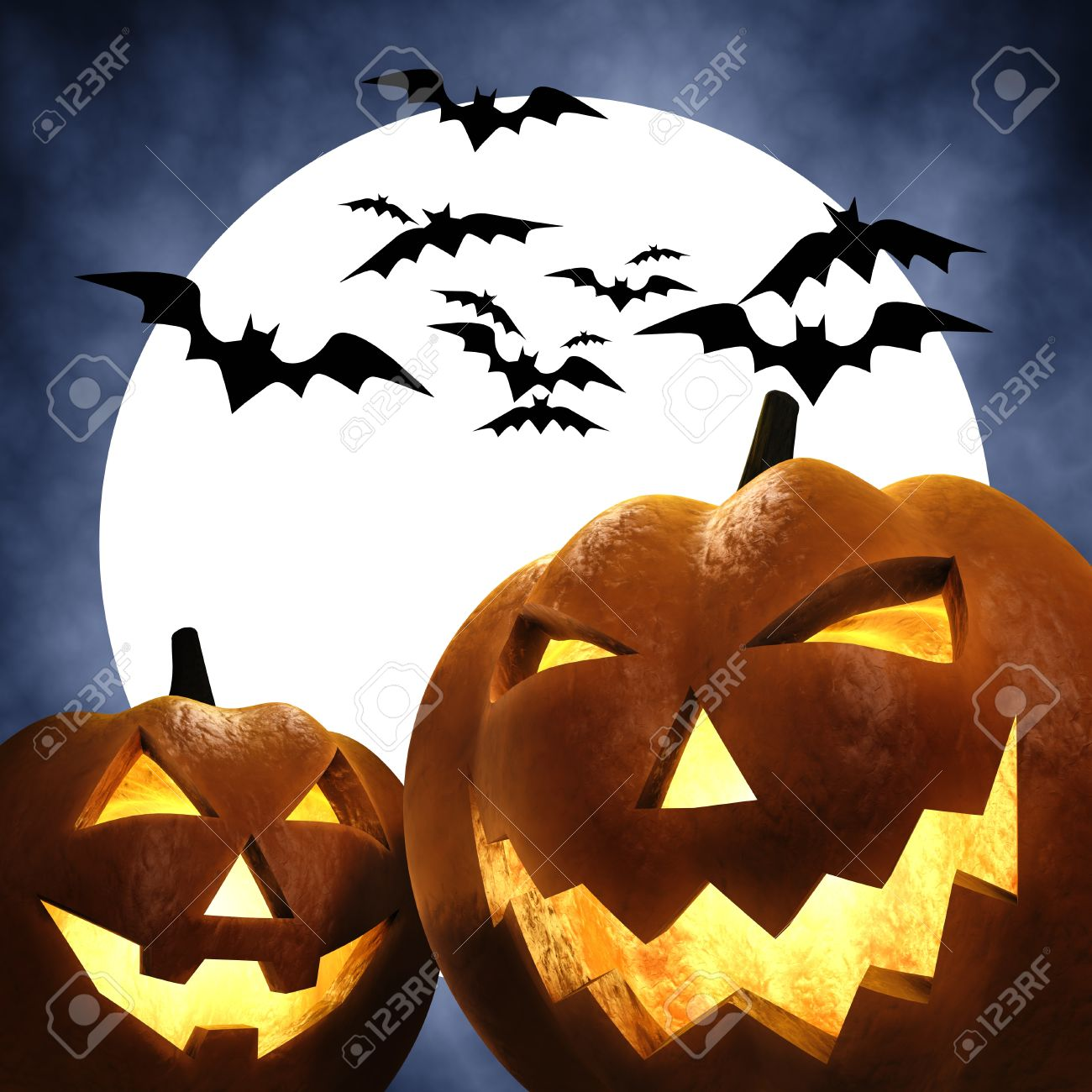 Halloween Scene , 3d Illustration Stock Photo, Picture And Royalty ...