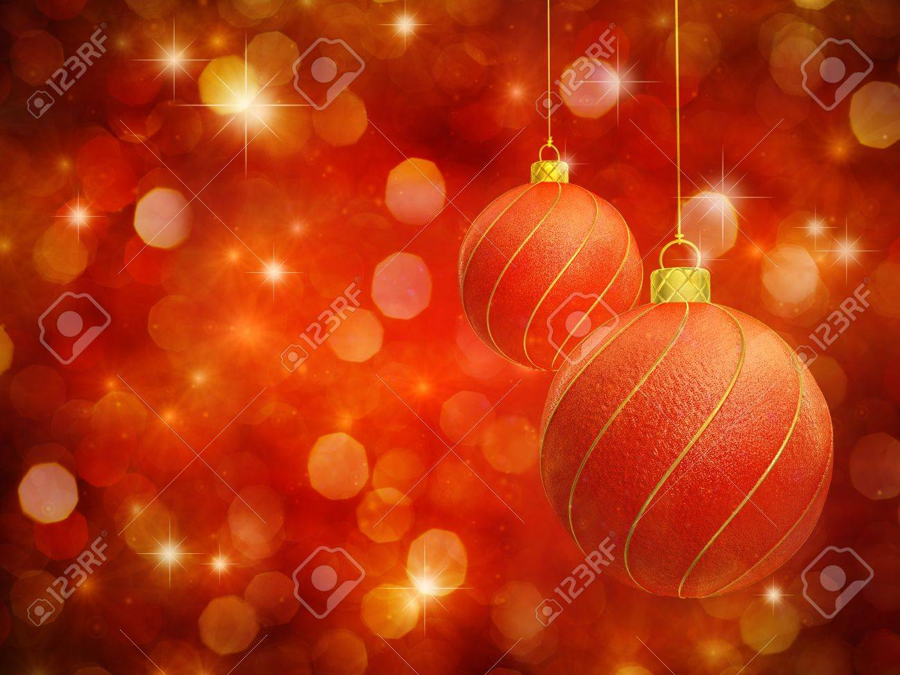 Christmas baubles on red sparkly background Stock Photo - 11174958