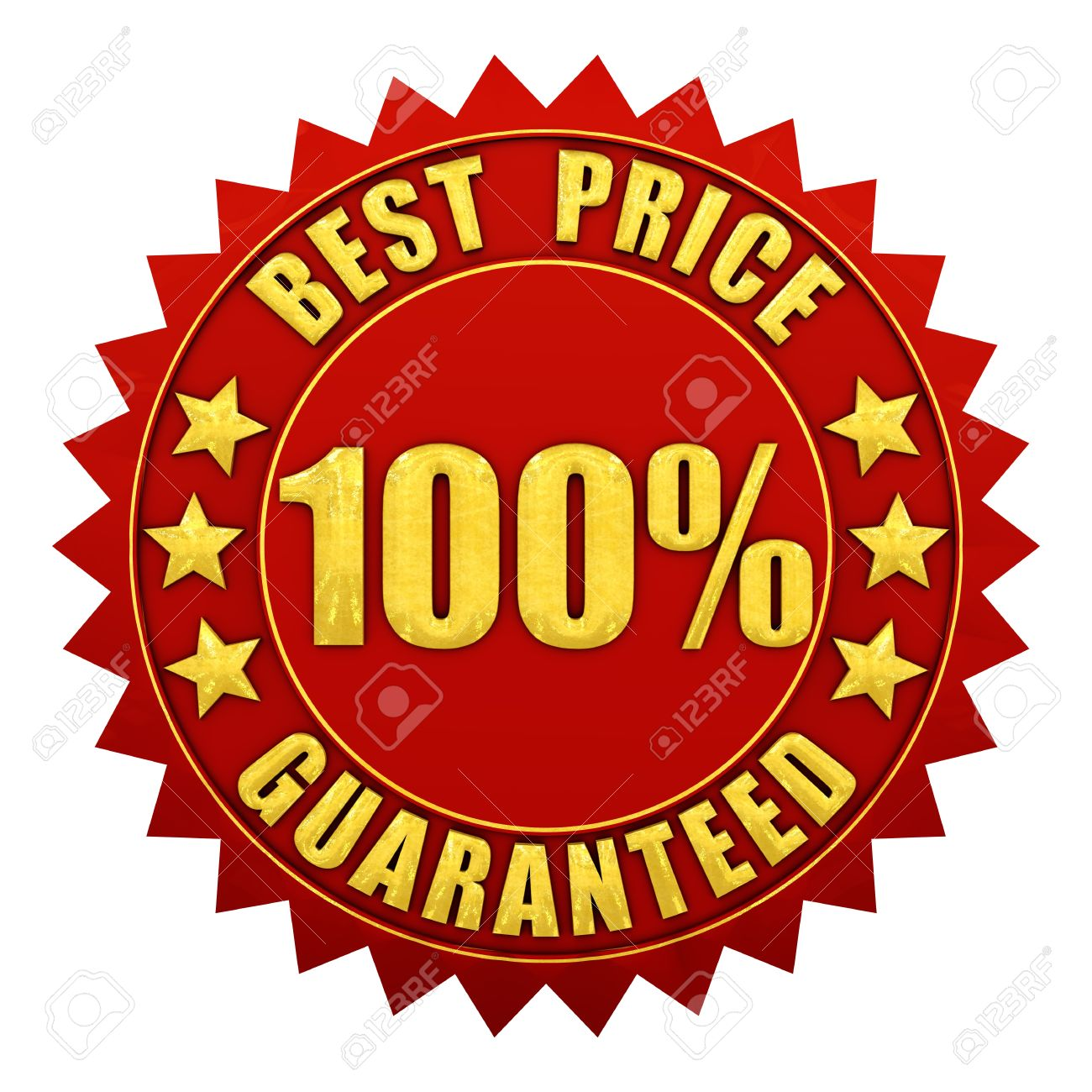 100 percent best price guaranteed , red and gold warranty label isolated on white Stock Photo - 11174954