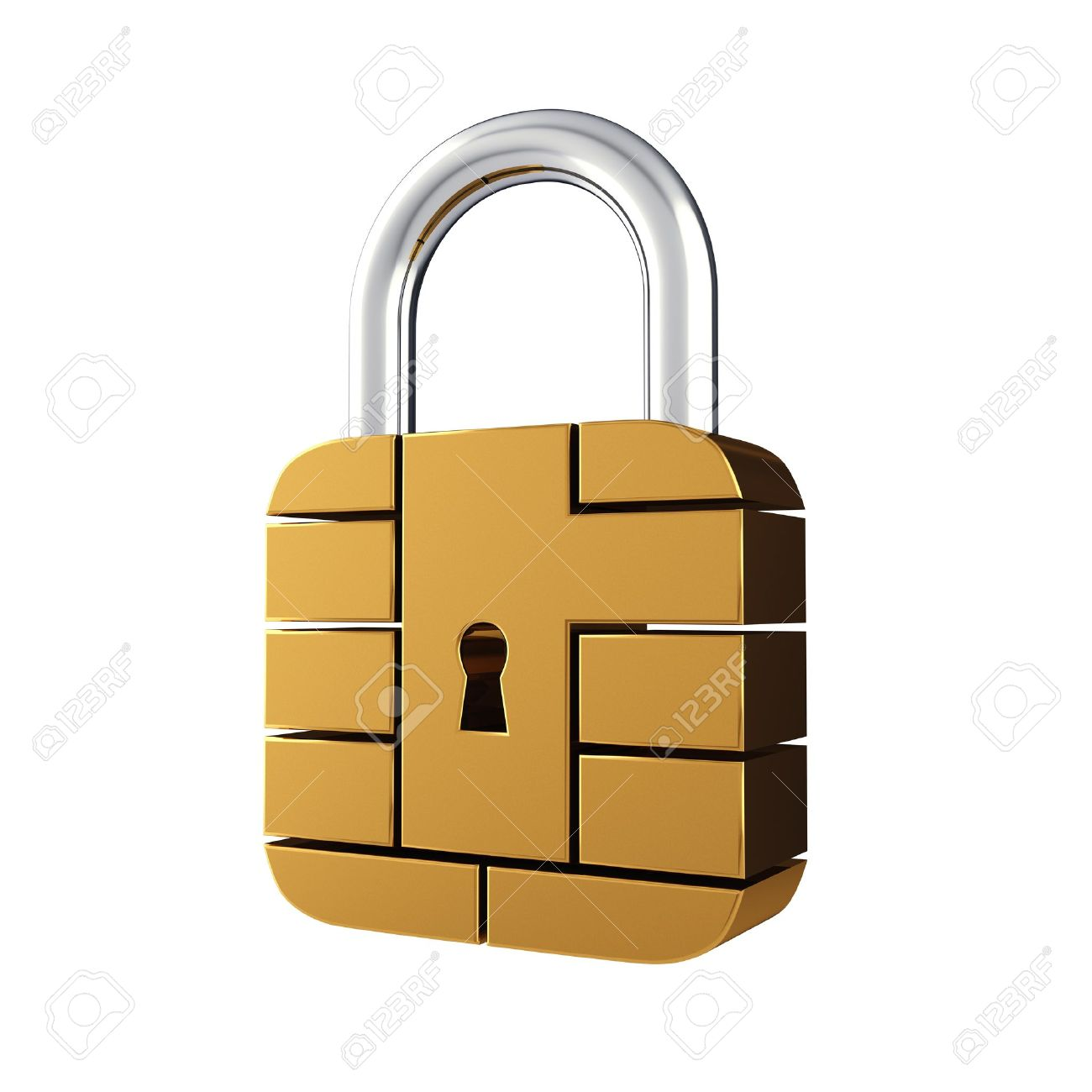 Credit card security chip as padlock , isolated on white Stock Photo - 12504736