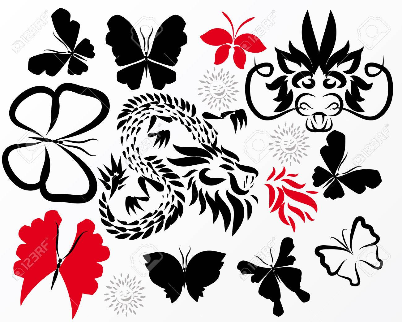 Dragons and butterflies Stock Vector - 4463416