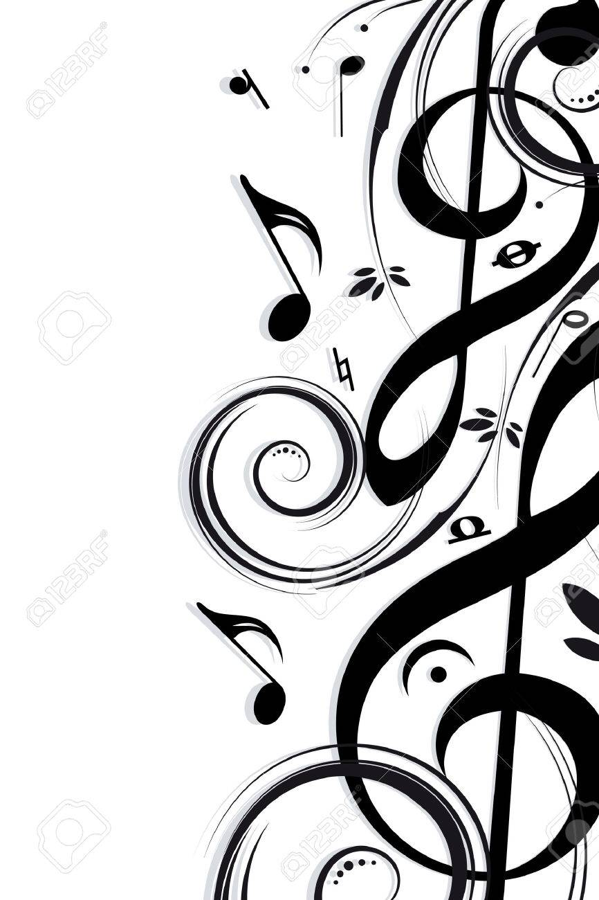 Musical notes staff background on white vector by tassel78 image - Musical Note Musical Background