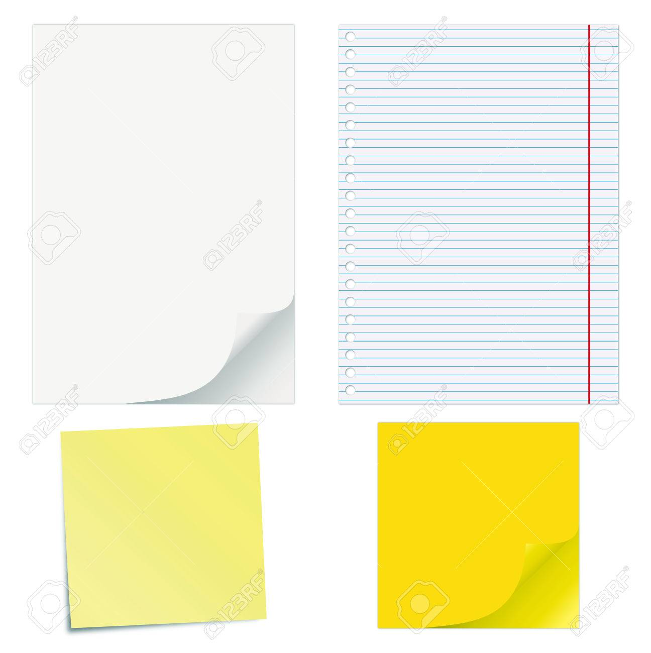 Blank Papers With Curled Corners And Notepad Lined Page Royalty – Blank Lined Page