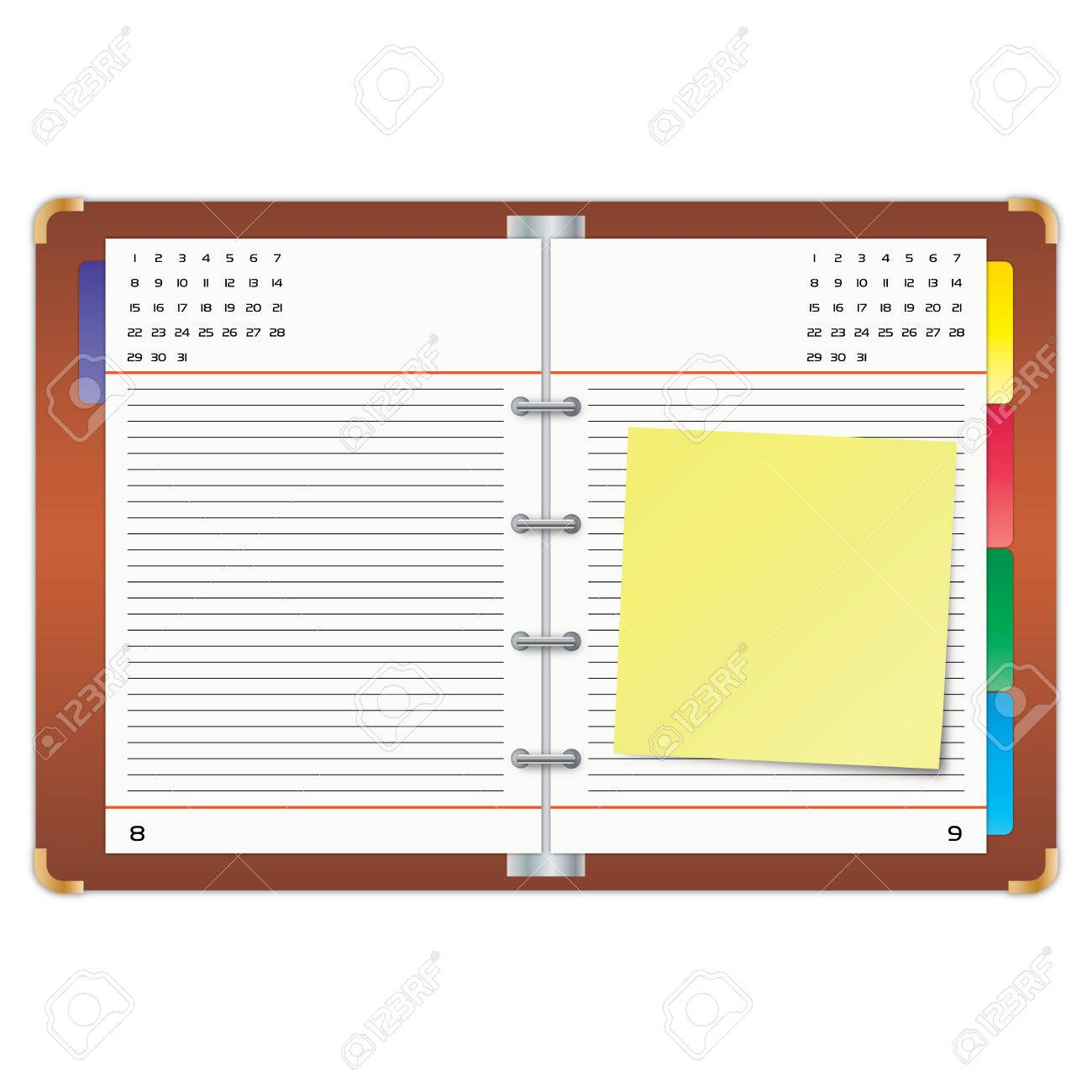 Organizer with the yellow sticky note. Stock Vector - 7633260