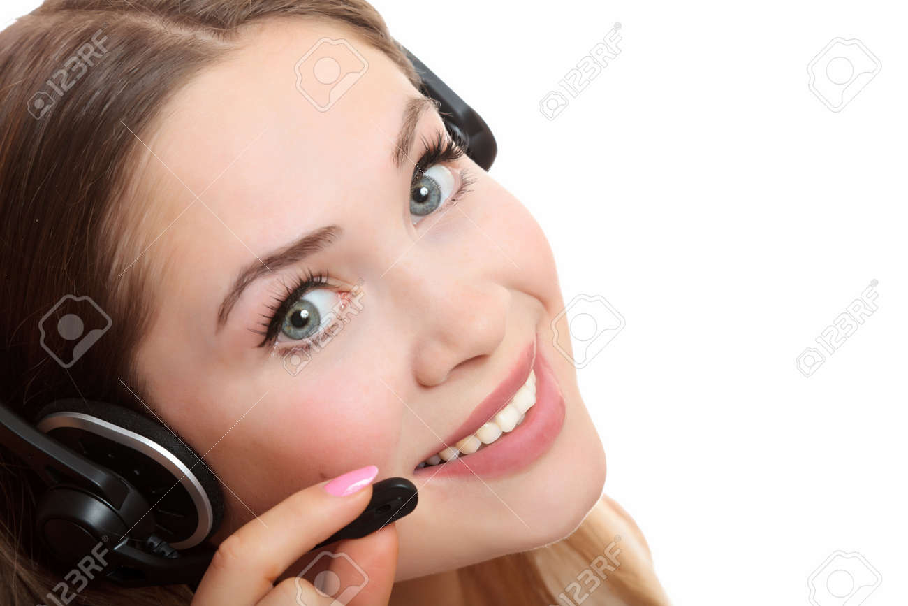 Pretty caucasian woman with headset smiling during a telephone conversation. Stock Photo - 8025795