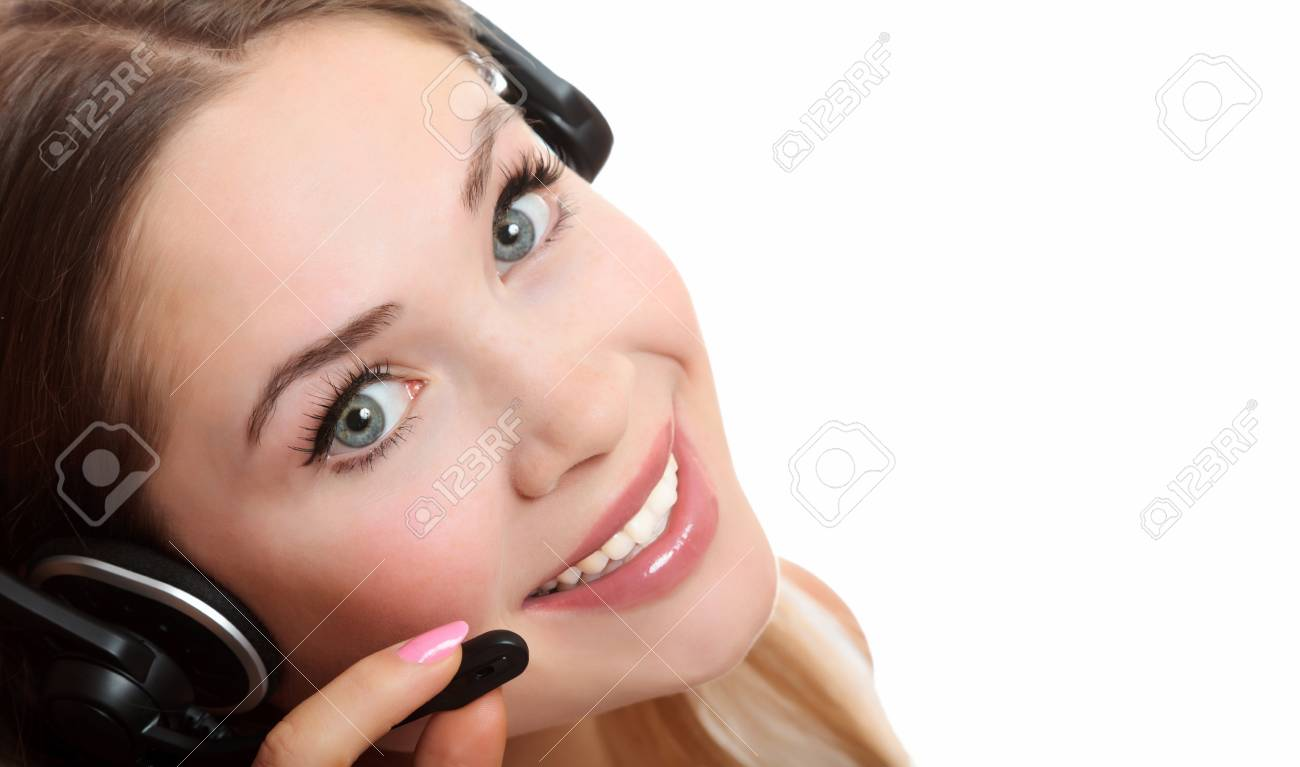 Pretty caucasian woman with headset smiling during a telephone conversation. Stock Photo - 8025798