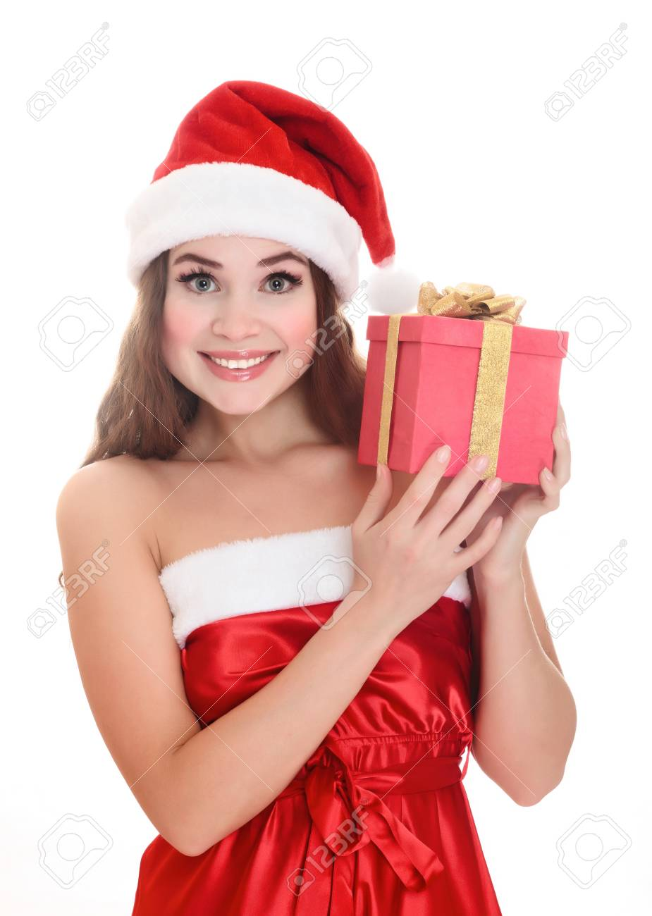 Cheerful santa helper girl with big gift box. Isolated over a white background. Stock Photo - 8329472
