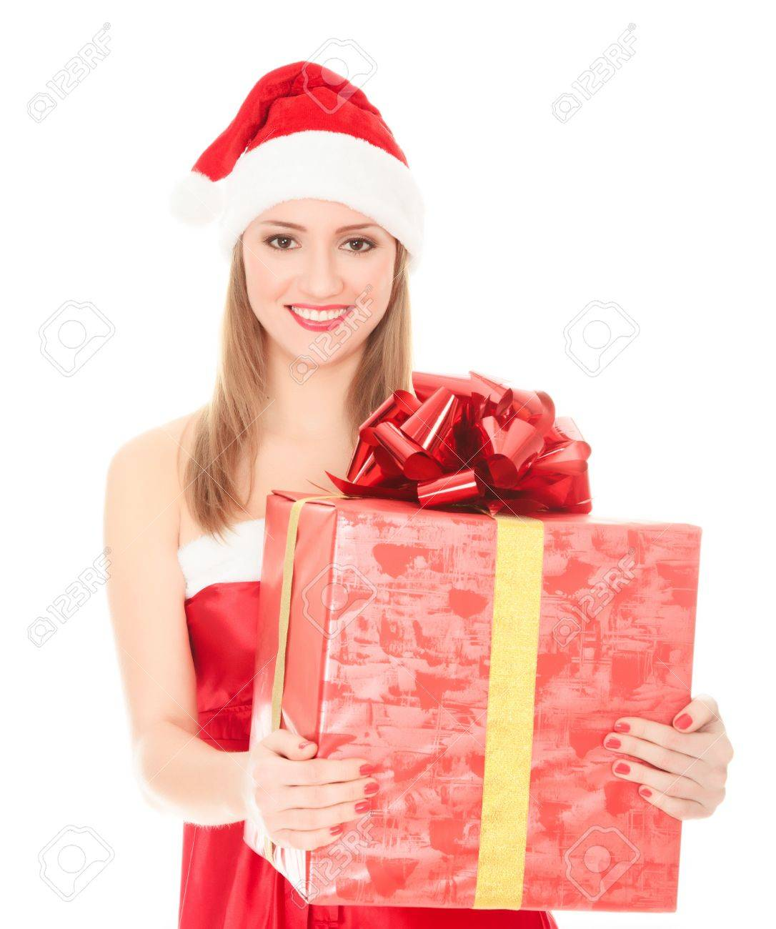 Cheerful santa helper girl with big gift box. Isolated over a white background. Stock Photo - 8366963