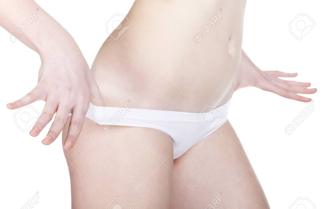 Belly of beautiful and slim young caucasian lady, isolated on white background Stock Photo - 8710042