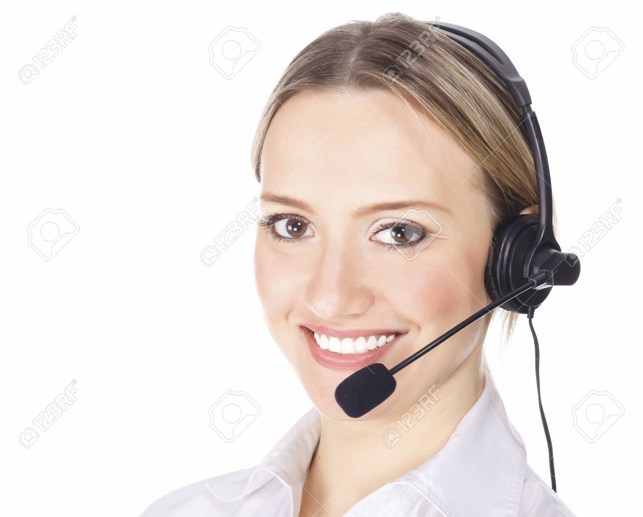Beautiful customer service operator woman with headset, isolated on white background Stock Photo - 8899046