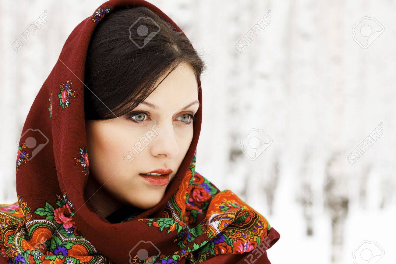 Gorgeous woman in shawl on her head Stock Photo - 9032546