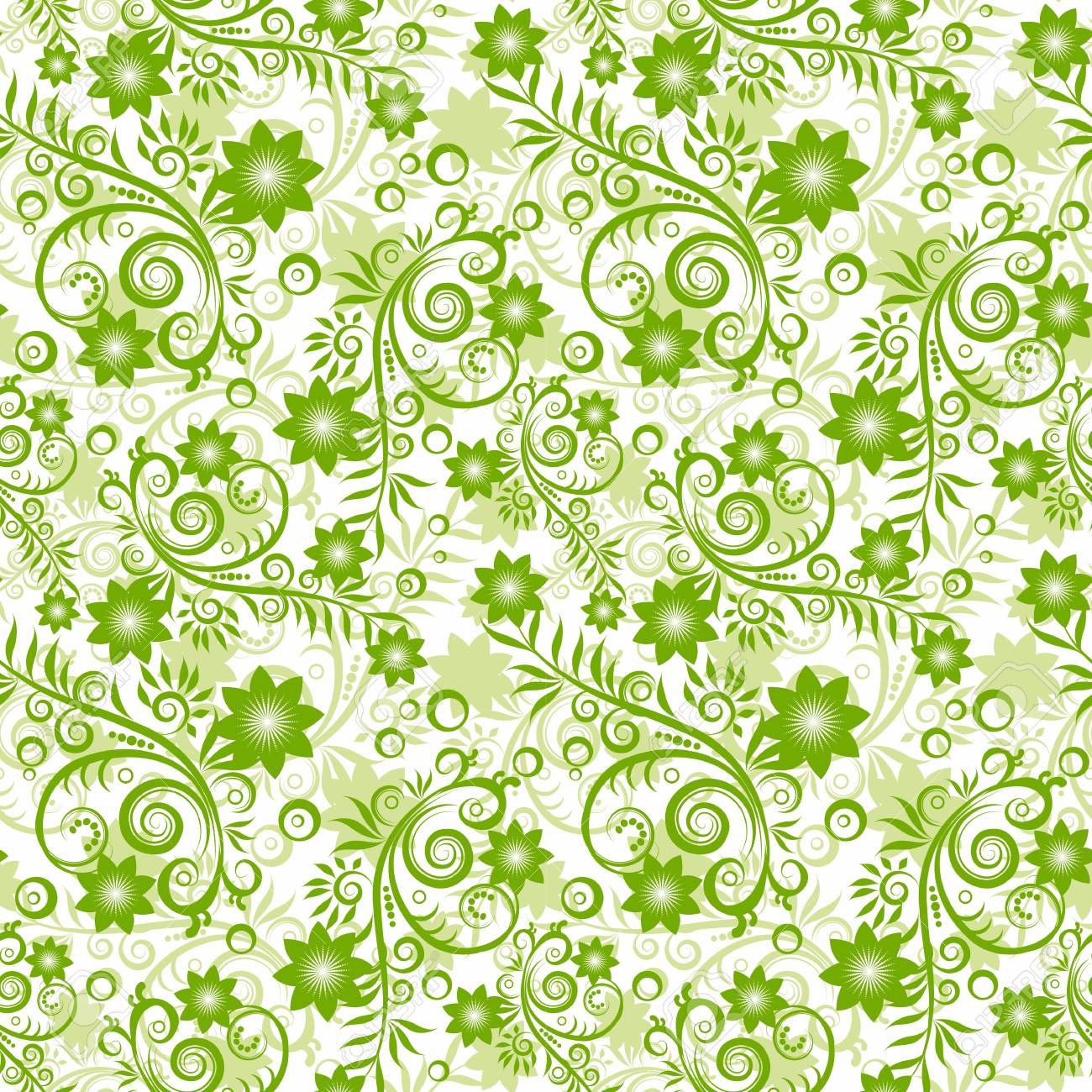 Seamless floral green background. Stock Vector - 9701596