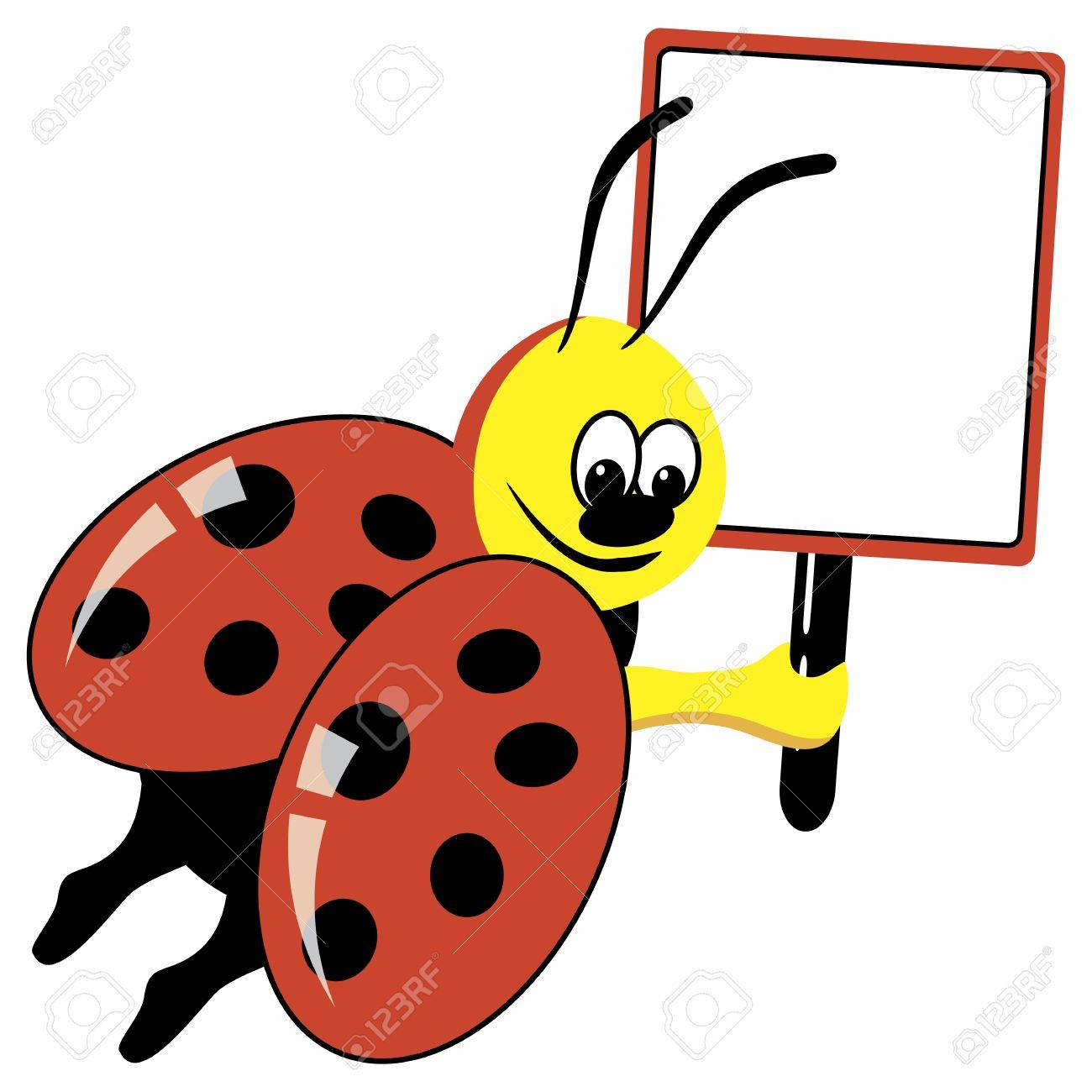Cartoon ladybird with speech bubble Stock Vector - 9847705
