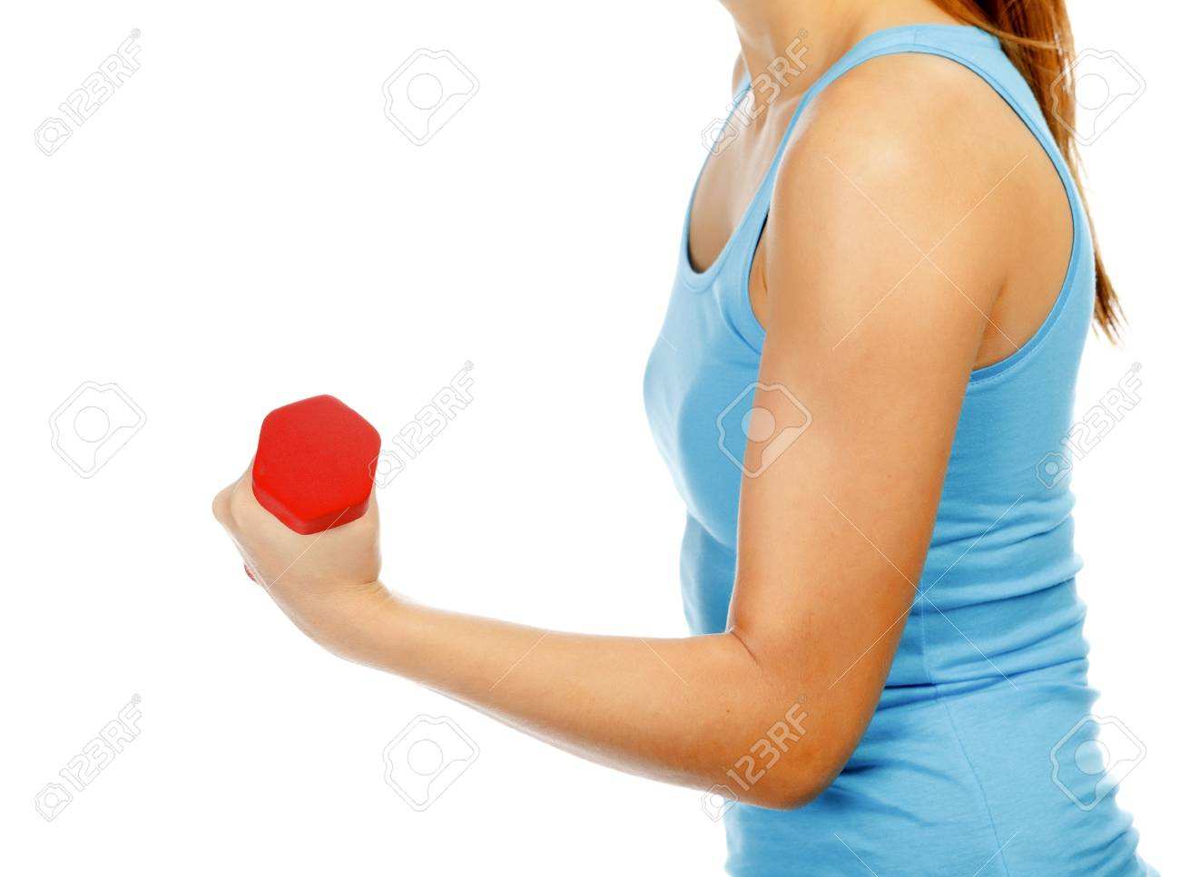 Female hand with a red barbell, isolated on white Stock Photo - 11562736