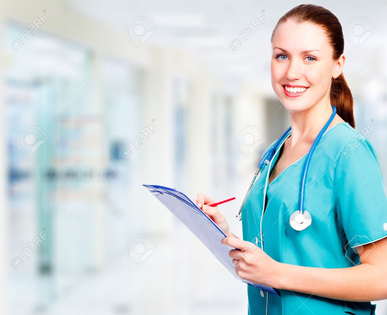 Medical doctor woman in the office - 14297568
