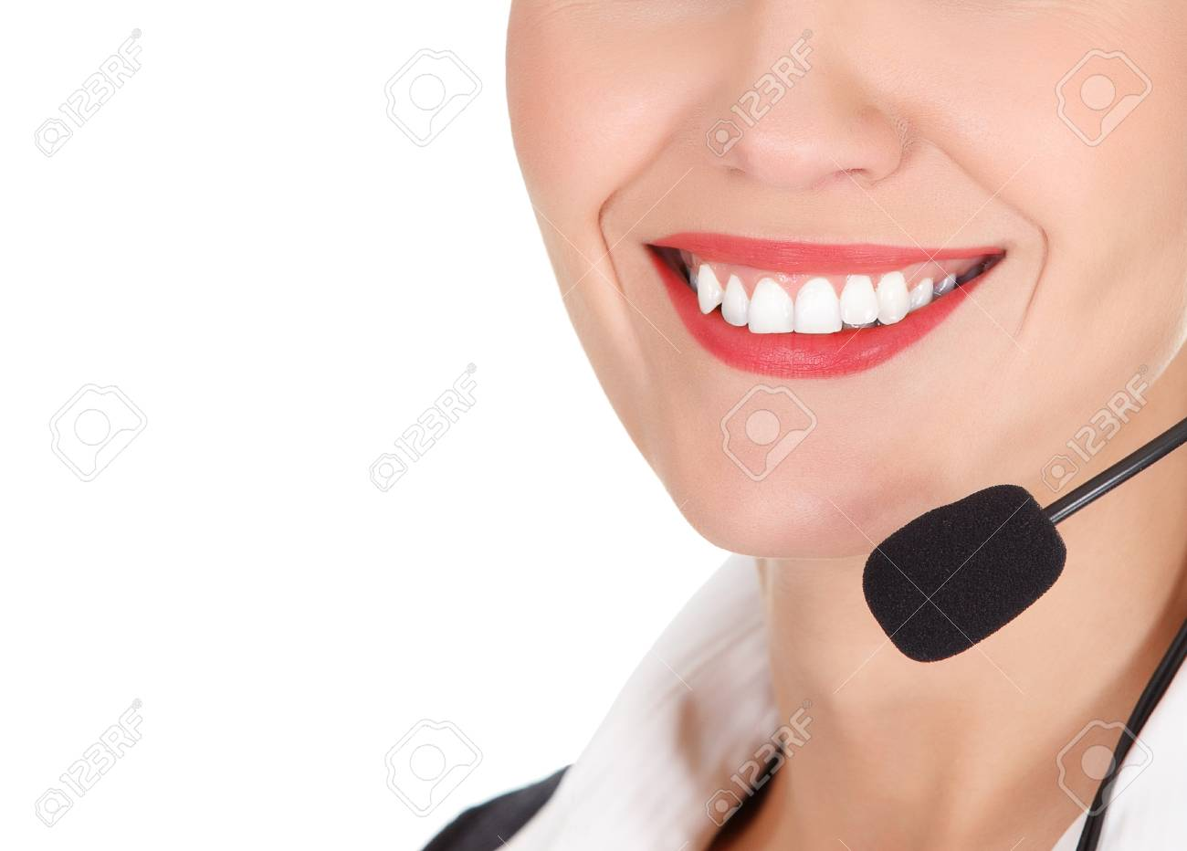Cheerful call center operator against white background Stock Photo - 15808111