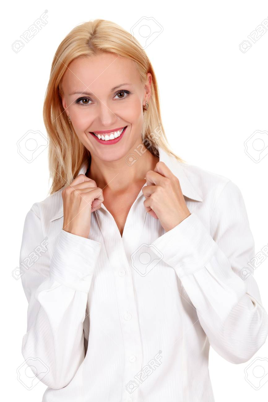 confident young woman posing against white background Stock Photo - 15895744