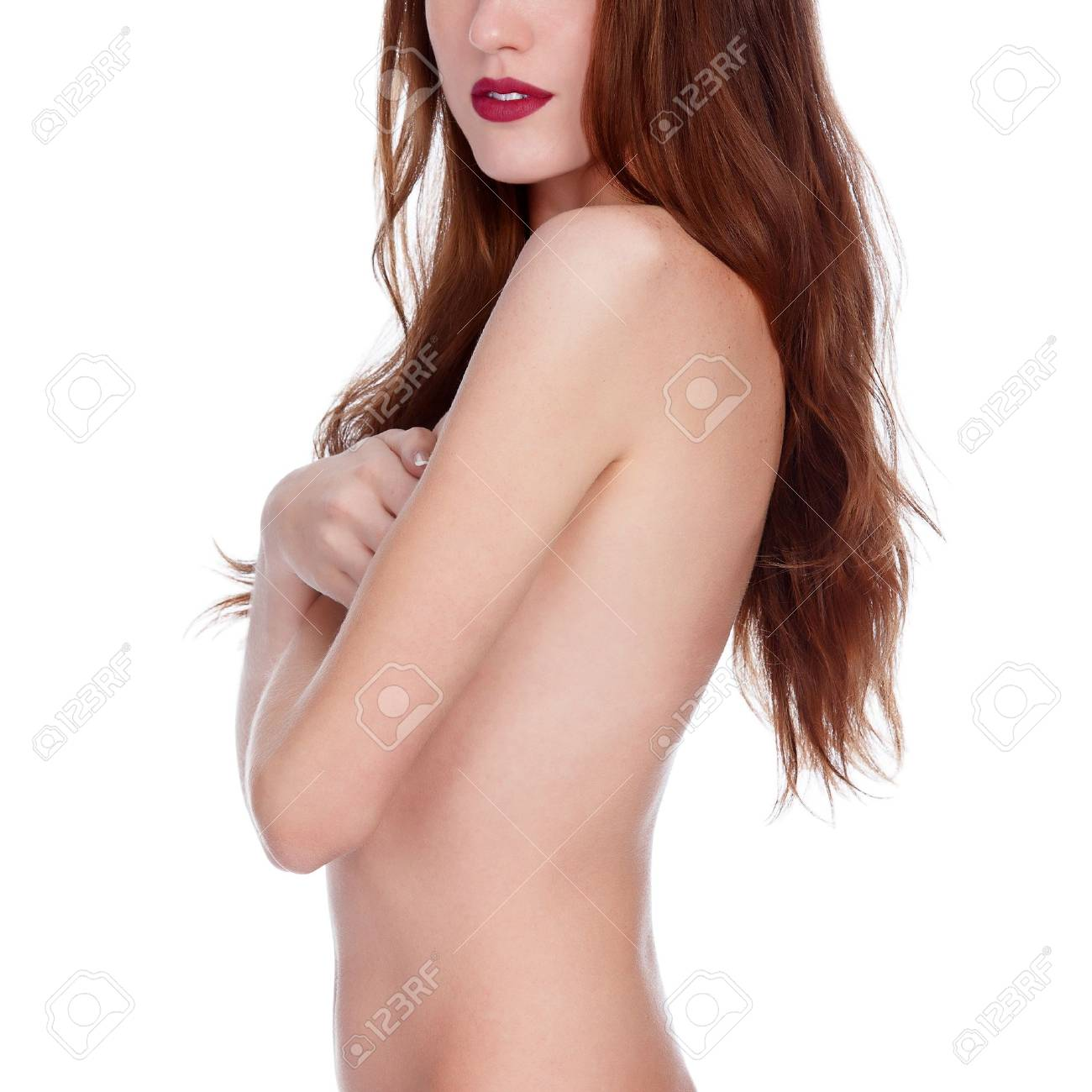 beautiful woman with long hair, white background. Stock Photo - 16793186