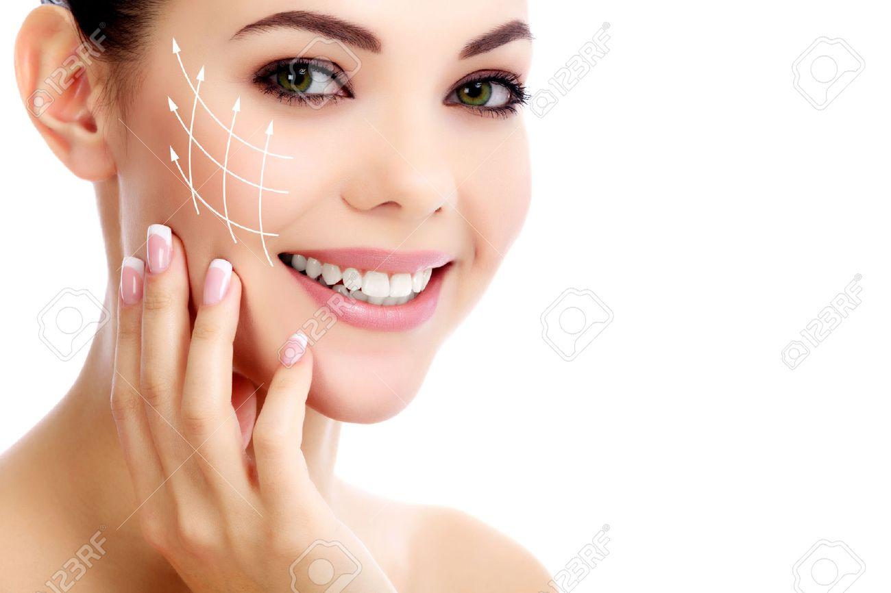 Cheerful female with fresh clear skin, white background - 26551439
