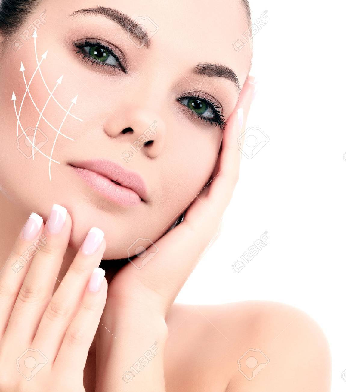 Young female with clean fresh skin, white background - 26551452