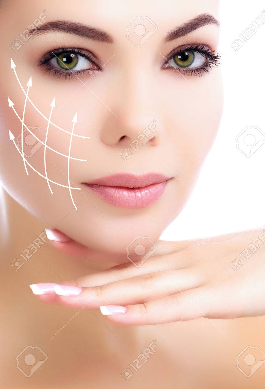 Young female with clean fresh skin, white background - 26945495