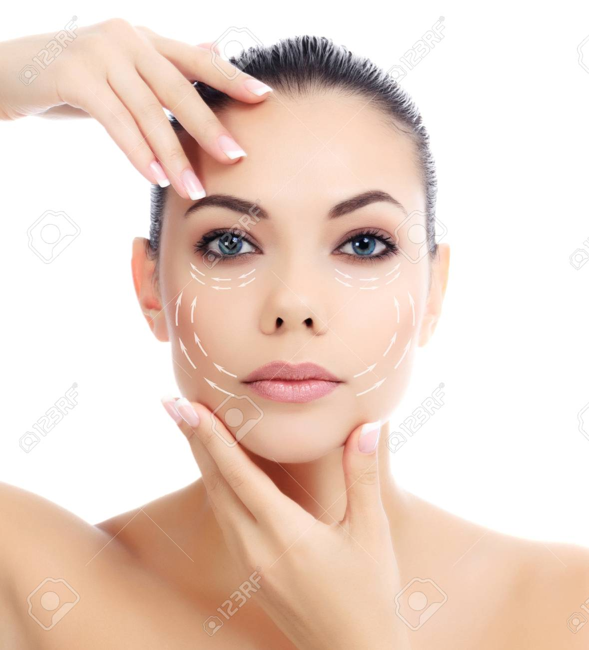 Young female with clean fresh skin, white background - 28294728