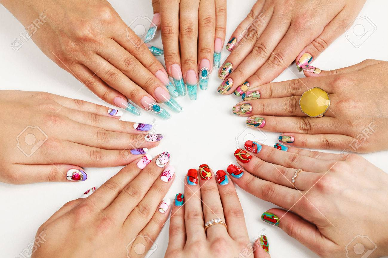 Female hands with various nail arts - 36310054