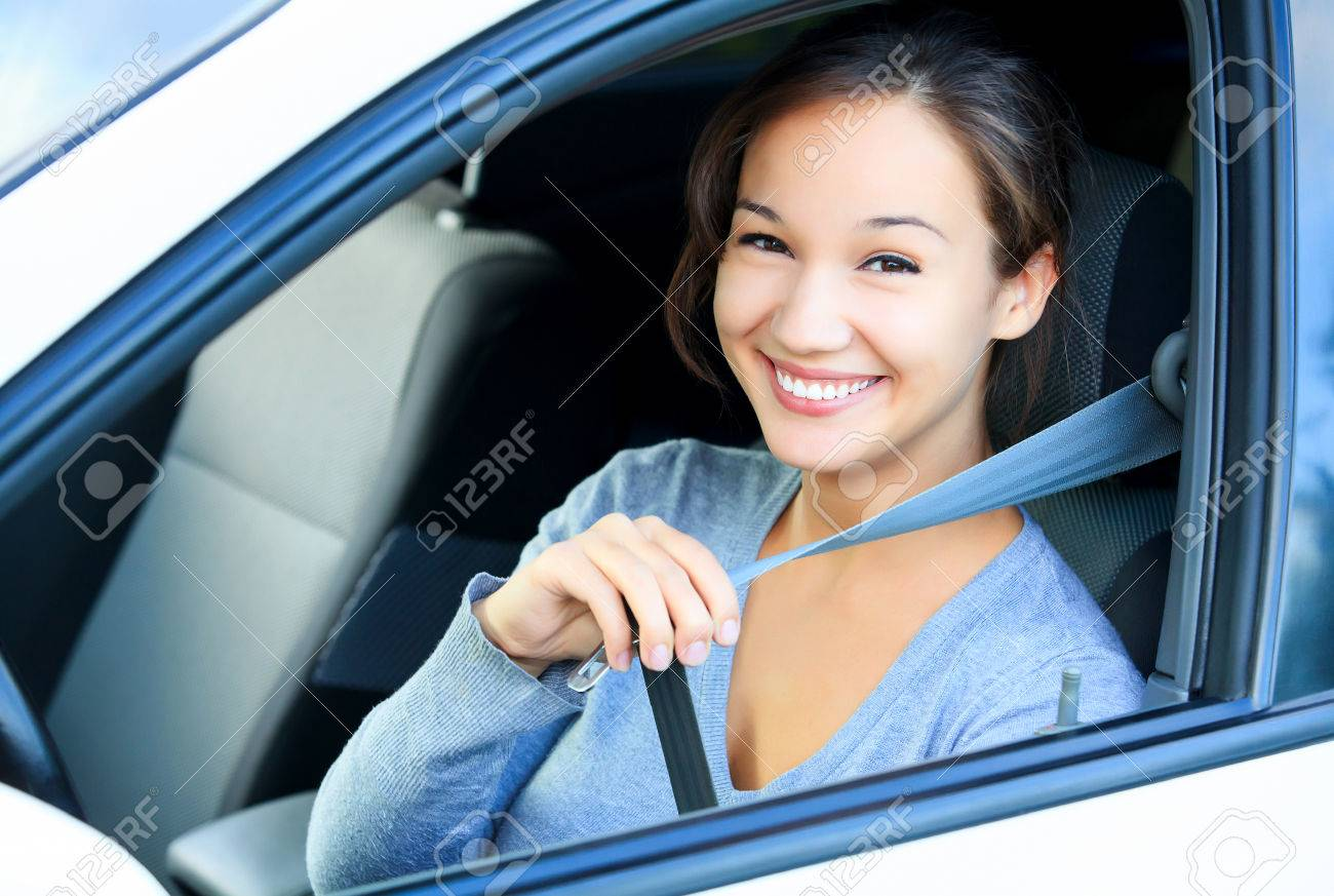 Always fasten your seatbelt. Girl in a car - 39533282
